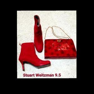 Red Suede Stuart Weitzman Shubootie